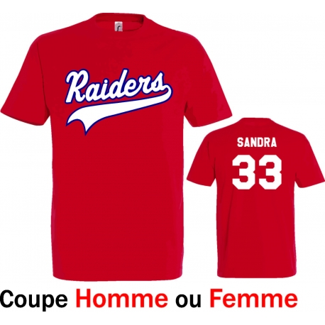 T-shirt Raiders d'Eysines rouge