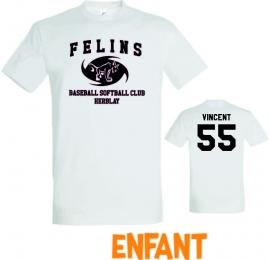 T-shirt enfant Félins d'Herblay 100% coton noir